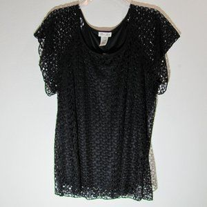 Brittany Black  Lace Top NWT